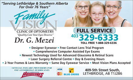Family Vision Clinic of Optometry (403-359-9028) - Annonce illustrée
