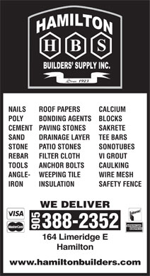 Hamilton Builders Supply (905-388-2352) - Annonce illustrée