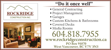Rockridge Construction Inc (604-818-7955) - Annonce illustrée