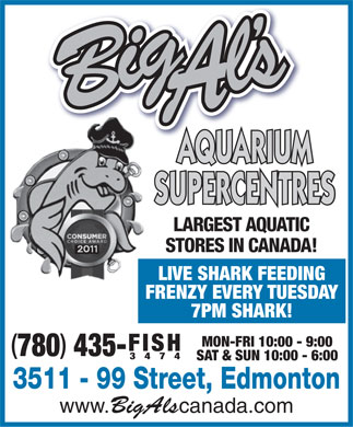 Big Al's Aquarium Supercentres (780-435-3474) - Annonce illustrée