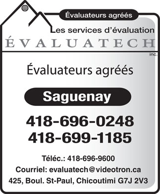 Evaluatech Services D'Evaluation Inc (418-696-0248) - Annonce illustrée