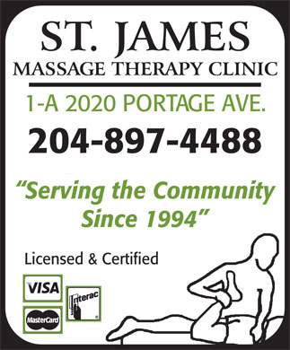 St James Massage Therapy Clinic (204-897-4488) - Annonce illustrée