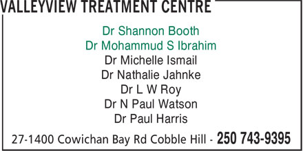 Valleyview Medical Clinic (250-743-9395) - Annonce illustrée - Dr Michelle Ismail Dr Nathalie Jahnke Dr L W Roy Dr N Paul Watson Dr Paul Harris Dr Shannon Booth Dr Mohammud S Ibrahim