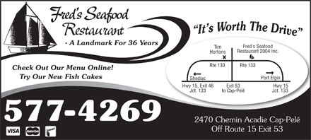 Fred's Restaurant & Lounge (506-577-4269) - Display Ad