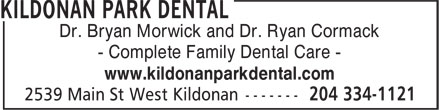 Kildonan Park Dental (204-334-1121) - Annonce illustrée - Dr. Bryan Morwick and Dr. Ryan Cormack - Complete Family Dental Care - www.kildonanparkdental.com