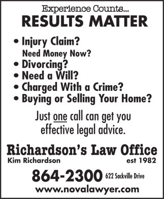 Richardson's Law Office (902-864-2300) - Annonce illustrée