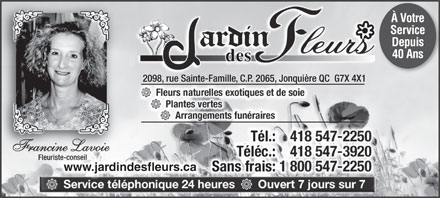 Jardin Des Fleurs Enr (418-547-2250) - Annonce illustr&eacute;e