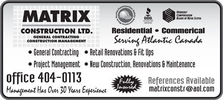 Matrix Construction Ltd (902-404-0113) - Annonce illustrée