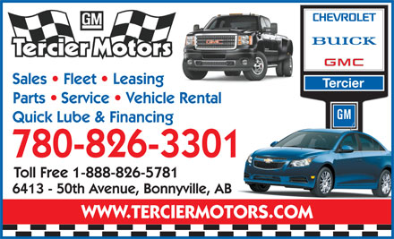 Tercier Motors Ltd (780-826-3301) - Display Ad