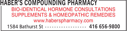 Haber's Compounding Pharmacy (416-656-9800) - Display Ad