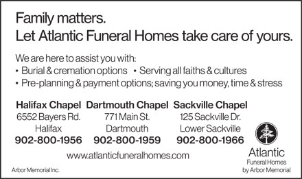Atlantic Funeral Homes (902-800-1956) - Display Ad