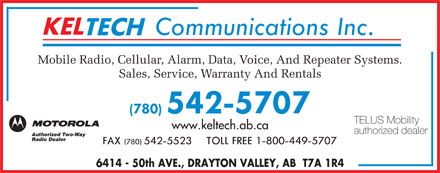 Keltech Communications Inc (780-542-5707) - Display Ad