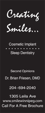 Creating Smiles Cosmetic Implant Sleep Dentistry (204-694-2040) - Display Ad