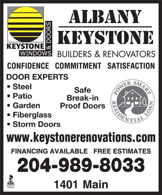 Albany Keystone Builders & Renovations Ltd (204-809-0356) - Display Ad - DOOR EXPERTS Steel Safe Patio Break-in Garden Proof Doors Fiberglass Storm Doors