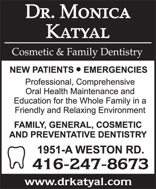 Katyal M Dr (416-247-8673) - Display Ad
