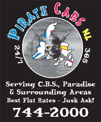 Pirate Cabs NL Ltd. (709-744-2000) - Display Ad
