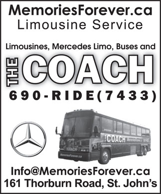 Memories Forever Limousine Service (709-690-7433) - Annonce illustr&eacute;e - Limousines, Mercedes Limo, Buses and