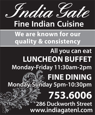 India Gate Restaurant (709-753-6006) - Annonce illustr&eacute;e