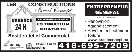 Constructions Israël Concept (Les) (418-695-7209) - Display Ad