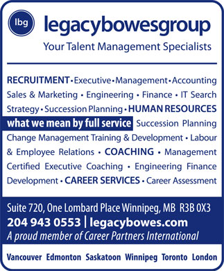 Legacy Bowes Group (204-943-0553) - Annonce illustr&eacute;e
