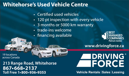 Driving Force Vehicle Rentals Sales & Leasing (867-668-2137) - Annonce illustrée