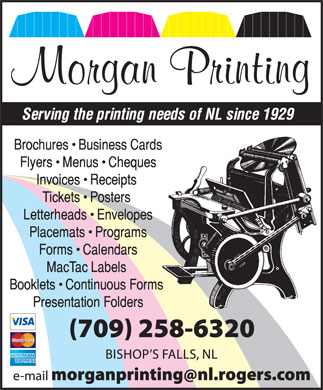 Morgan Printing (709-258-6320) - Display Ad - Morgan Printing  Morgan Printing