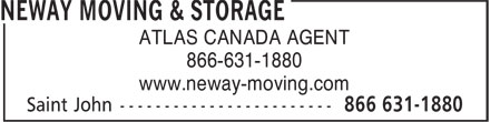 Neway Moving & Storage (506-631-1880) - Annonce illustrée - ATLAS CANADA AGENT 866-631-1880 www.neway-moving.com