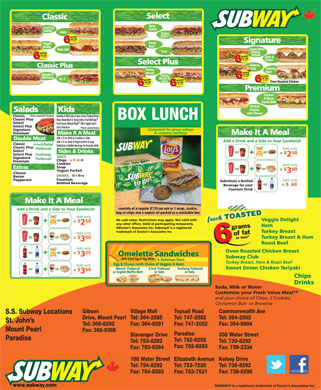 Subway (709-754-8292) - Menu
