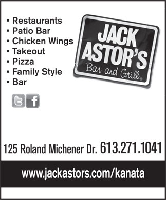 Jack Astor's Bar And Grill (613-271-1041) - Annonce illustrée - Restaurants Patio Bar Chicken Wings Takeout Pizza Family Style Bar 613.271.1041 125 Roland Michener Dr. www.jackastors.com/kanata