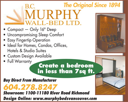 Murphy Wall-Beds (604-278-8247) - Display Ad