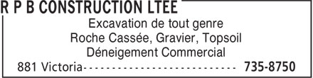 R P B Construction Ltée (1-855-211-0750) - Display Ad