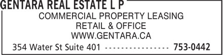 Gentara Real Estate L P (709-753-0442) - Annonce illustrée - COMMERCIAL PROPERTY LEASING RETAIL & OFFICE WWW.GENTARA.CA