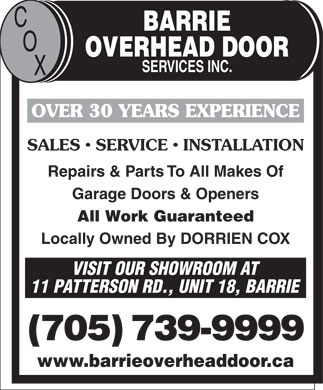 Barrie Overhead Door Services 18 11 Patterson Rd Barrie On