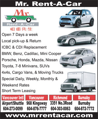 Mr Rent-A-Car (604-876-7777) - Display Ad