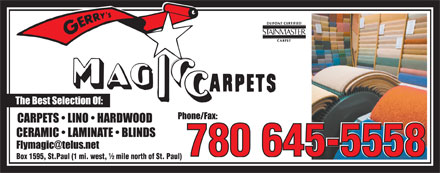 Gerry's Magic Carpets Ltd (780-645-9838) - Display Ad - 780 645-5558  780 645-5558