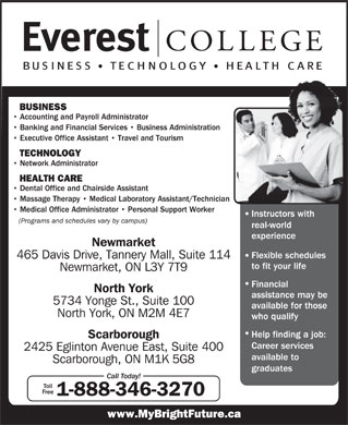 Everest College Of Business Technology & Health Care (1-888-346-3270) - Annonce illustrée