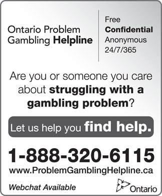 Ontario Problem Gambling Helpline (1-888-320-6115) - Display Ad