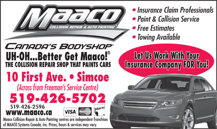Maaco (1-866-266-1449) - Display Ad - 519-426-2596  519-426-2596