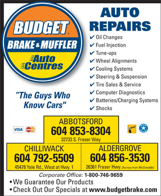 Budget Brake & Muffler Auto Centres (604-853-8304) - Display Ad