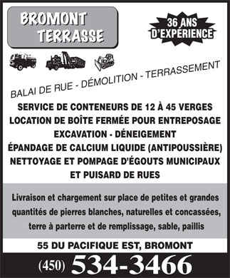 Bromont Terrasse (450-534-3466) - Display Ad