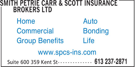 Smith Petrie Carr &amp; Scott Insurance Brokers Ltd (613-237-2871) - Annonce illustr&eacute;e - Home Auto Commercial Bonding Group Benefits Life www.spcs-ins.com
