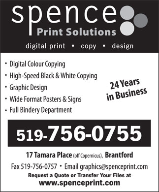 Spence Print Solutions (519-756-0755) - Display Ad