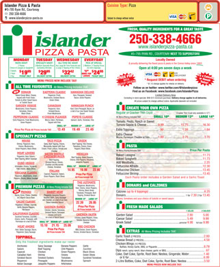 Islander Pizza & Pasta (250-338-4666) - Menu