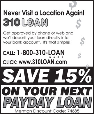310-LOAN Payday Loans (1-800-310-5626) - Display Ad