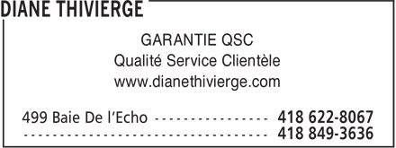 Diane Thivierge (418-622-8067) - Display Ad
