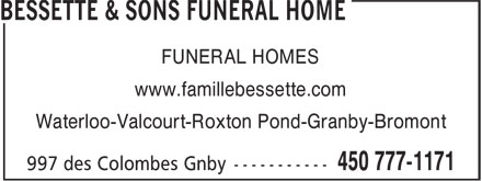 Bessette & Sons Funeral Home (450-777-1171) - Display Ad