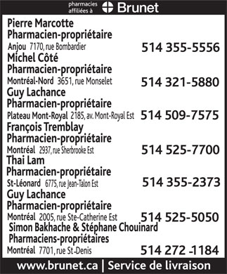 Brunet Pharmacies Affiliées (514-355-5556) - Display Ad