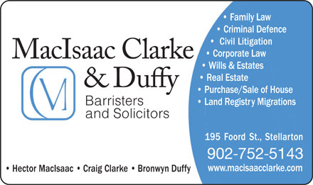 MacIsaac Clarke & Duffy (1-855-228-8870) - Display Ad - Barristers and Solicitors 902 752 5143