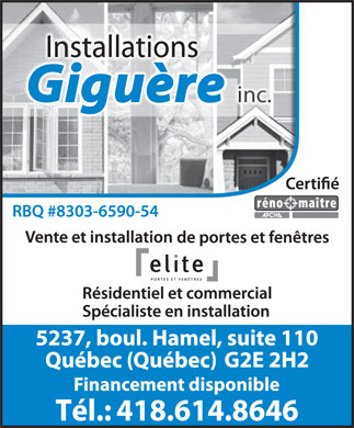 Installations Giguère Inc. (418-614-8646) - Display Ad - Installations Tél.: 418.614.8646