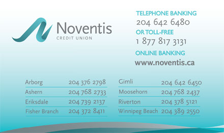Noventis Credit Union (1-888-557-9597) - Display Ad - TELEPHONE BANKINGTELEPHONE BANKING OR TOLL-FREEOR TOLL-FREE ONLINE BANKINGONLINE BANKING